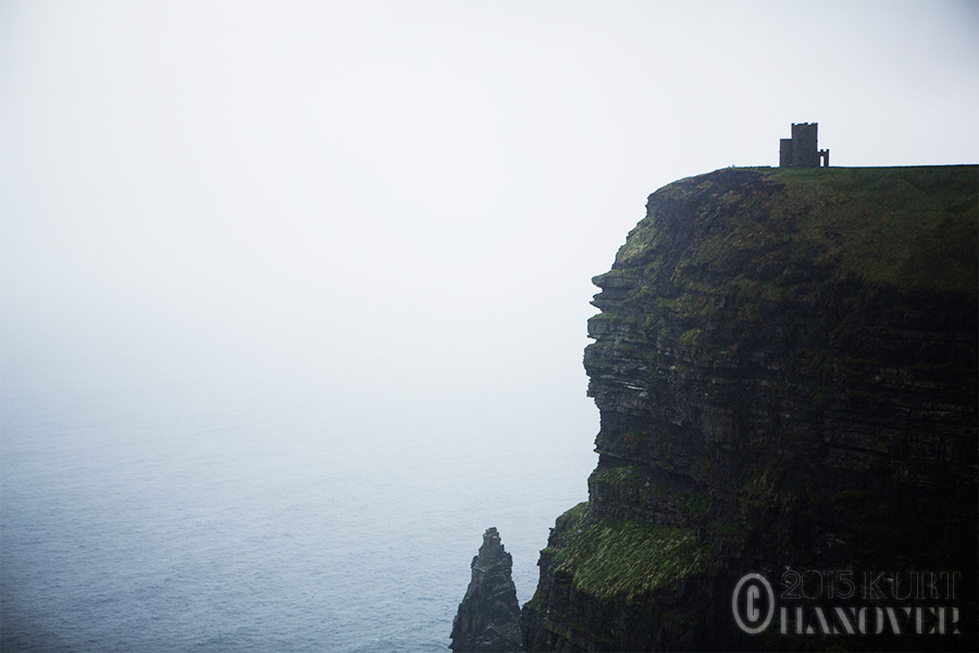 The Cliffs of Moher in Ireland on a rainy day.