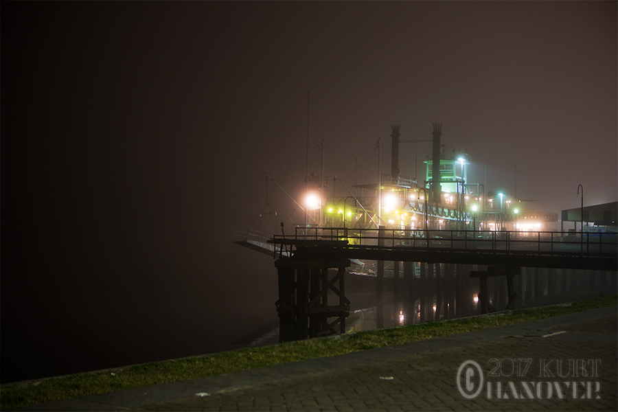 A riverboat on a foggy night in New Orleans.
