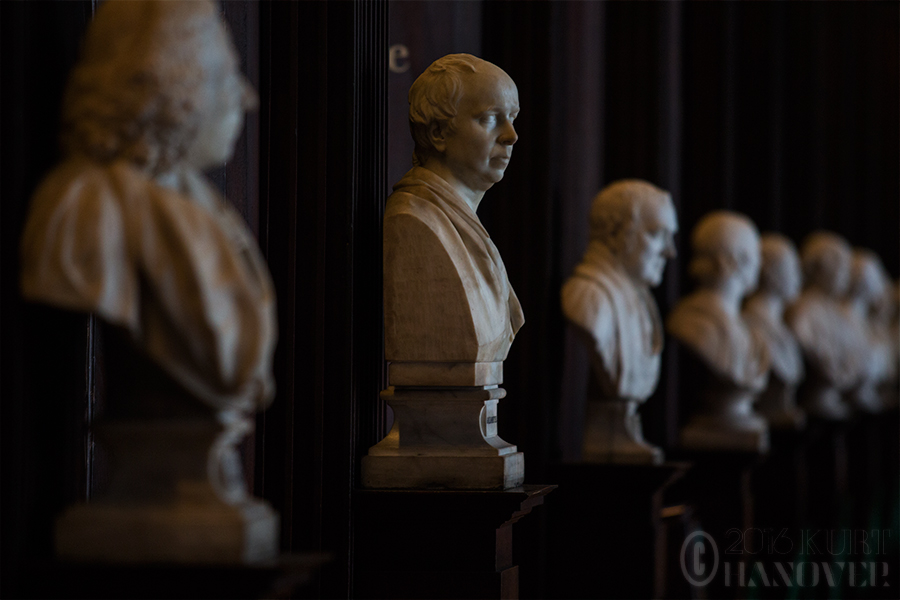 Busts in The Long Room of Trinity College in Dublin, Ireland.